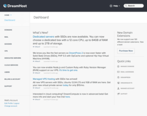 Dreamhost review control panel